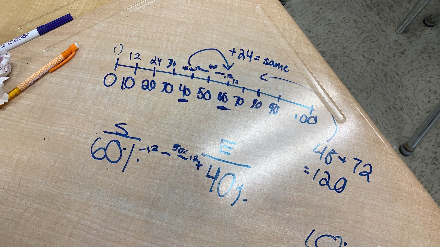 Student Approach 4 - Double Number Line and Reasoning Minus 12 sm