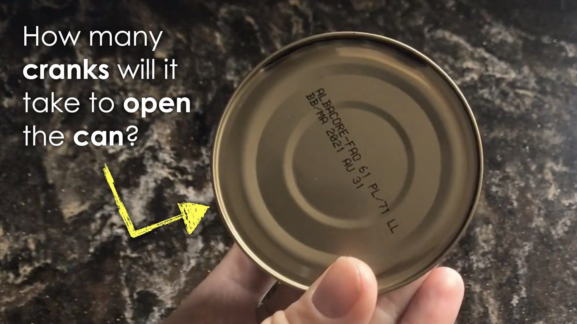 Open Sesame - 2 - Spark - Prompt - How many cranks will it take to open the can
